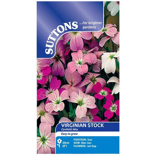 Suttons  Virginian Stock Confetti Mix Flower Seeds