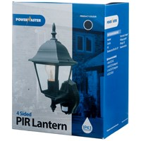 Powermaster  4 Sided PIR Wall Lantern Black - 60W