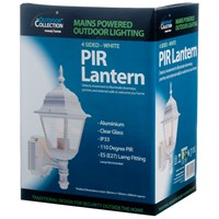 Powermaster  4 Sided PIR Wall Lantern White - 60W