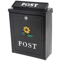 De Vielle  Diecast Post Box - Black with Yellow Sunflower