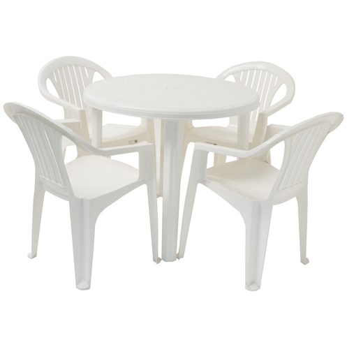 Culcita  5 Piece Round Resin Garden Set - White