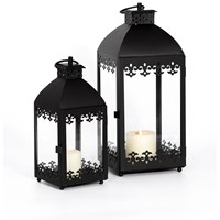 Allison Garden Land  Set of 2 Metal Lanterns - Black